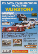 "WUNSTORF DTM / INTERSERIE 1988  JULY 16-17  Poster 26 x 19"" ( 607 X 408mm)"